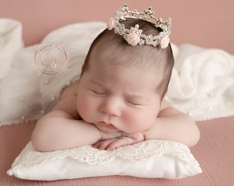 Rhinestone Baby Crown, 12 color choices of Resin Roses, newborn or maternity photo, baby crown, Austrian Crystals, by Lil Miss Sweet Pea