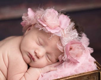 Vintage Ribbon Rose Halo Headband, ribbon roses and eyelash yarn, perfect for photo shoots, newborn photos, bebe, by Lil Miss Sweet Pea