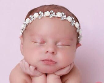 White Roses with Silver and Diamond Leaf Headband, perfect for newborns, photo shoots,  Christenings, Baptism by Lil Miss Sweet Pea