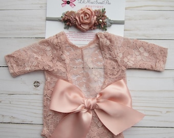 Deluxe floral headband AND/OR dusty rose stretch lace romper newborn set, bebe foto, photographer set, bandeau bebe, Lil Miss Sweet Pea