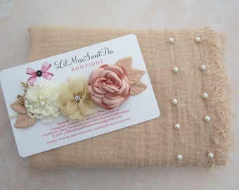 Tan Muslin Pearl Swaddle Wrap or Layering for Newborn Photos AND/OR Matching Couture Flower Headband bebe, Lil Miss Sweet Pea
