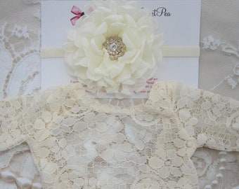 "Ivory Lace Romper, Stretch lace, w/sleeves, unlined, AND/OR 5"" flower headband with gold center, bebe foto, Lil Miss Sweet Pea"