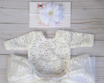 """White Lace Romper, unlined w/sleeves, AND/or tutu skirt AND/or 3.75"""" chiffon petal flower headband, newborn bebe foto, Lil Miss Sweet Pea"""