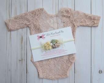 Pink Champagne Unlined Newborn Lace Romper AND/OR matching headband, newborn photos, foto bebe, by Lil Miss Sweet Pea
