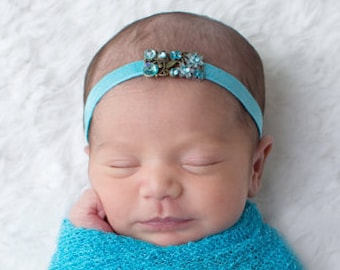 Turquoise floral rhinestone headband, perfect for newborn photos, new baby girl, newborn photographer, bebe foto, by Lil Miss Sweet Pea