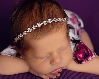 Rose Gold Rhinestone Bling Headband for photo shoots, baby girls, newborn photos, flower girl, bridesmaid, bebe bandeau, Lil Miss Sweet Pea