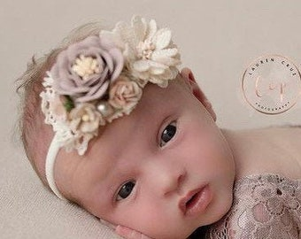 Flower headband for newborn or older girls photos, fabric and paper flowers, by Lil Miss Sweet Pea