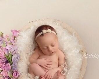 Pearl and Rhinestone Bow on soft stretch elastic, newborn headbands, bebe bandeau, Lil Miss Sweet Pea