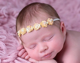 Miniature sequin flower halo headband, baby headband, bebe, foto, newborn headband, for all ages, photoshoots by Lil Miss Sweet Pea