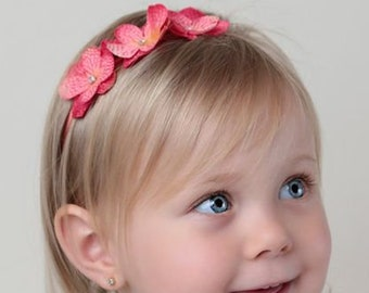 Salmon Hydrangea Blossoms Headband Halo, for Babies and Toddlers, photo prop, boho, baby shower gift, spring flowers, by Lil Miss Sweet Pea