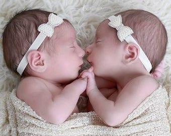 Pearl & Rhinestone Bow Headband for newborns, foto bebe, perfect for photoshoots, baby bling, newborn headband, Lil Miss Sweet Pea