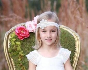 Rhinestone Applique Headband on Stretch Lace - weddings, bridesmaid, bride, party, teen, adult, newborn photo prop