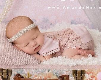 Hand Beaded Pearl Headband, 1/2 wide, Baptism, Christening, Birthday, photo, bebe foto, Lil Miss Sweet Pea