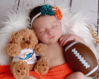 Miami Dolphin Photographer Set - or individual pieces - Orange or Teal Swaddle Wrap or Headband,  sports, Miami by Lil Miss Sweet Pea 11