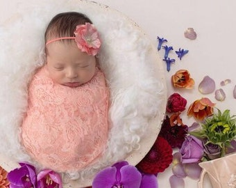 Light peach stretch lace swaddle wrap AND/OR Peach Satin Flower headband for newborn photo shoots, photographer, by Lil Miss Sweet Pea