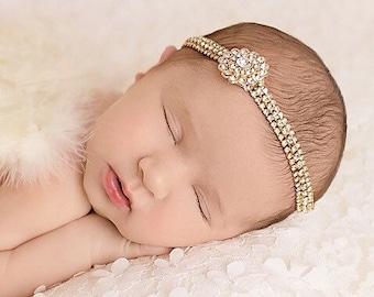 Gold rhinestone bling headband, baby bling, wedding, baptism, newborn photography, bebe, Lil Miss Sweet Pea