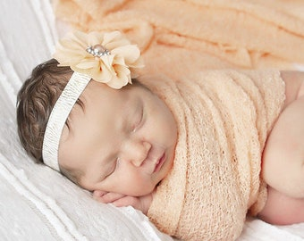 Peach Knit Wrap AND/OR Matching Peach Flower Headband, gold and white elastic, photo shoots, newborn swaddle, bebe foto, Lil Miss Sweet Pea