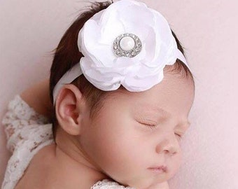 White Satin Flower Headband, Christening, Baptism, newborn photoshoot, bebe foto, vintage satin headband, by Lil Miss Sweet Pea