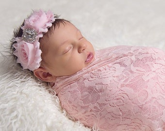 Pink stretch lace swaddle or layering blanket, newborn photography 58 x 16 inches AND/OR Pink Headband, bebe bandeau, Lil Miss Sweet Pea