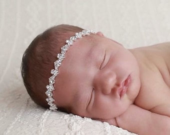 Rhinestone Headband, newborn photos, bebe, silver rhinestone headband, bebe  bandeau, photoshoot, Lil Miss Sweet Pea Boutique, fotografia