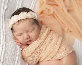 Peach Knit Wrap AND/OR Matching Boho Flower Halo, photo shoots, newborn swaddle, bebe foto, newbornfloral halo, Lil Miss Sweet Pea
