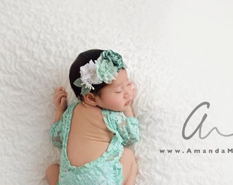 Lace Romper, mint stretch lace with sleeves, unlined, AND/OR matching cluster flower headband, bebe foto, Lil Miss Sweet Pea