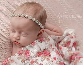 White, Red and Tan Printed Floral Stretch Lace Swaddle Wrap AND/OR Rhinestone Headband, newborn photo shoots, Lil Miss Sweet Pea
