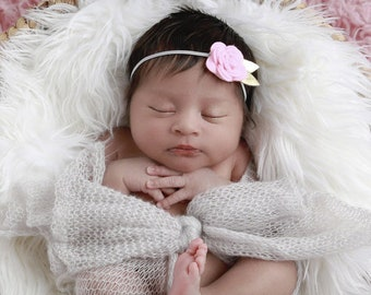 Grey stretch wrap AND/OR matching pink felt floral headband with gold leaf trim for newborn photo shoots, hairband, bebe, Lil Miss Sweet Pea