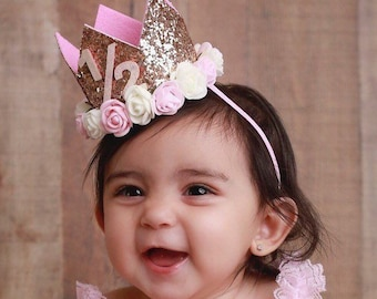 Birthday Crown, 1/2, 1st, or 2nd Birthday, gold glitter crown, half birthday, second, pink glitter crown, by Lil Miss Sweet Pea