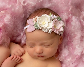 Couture Pink & Cream Mulberry Flower Headband, baby photos, newborn photoshoot, photographer headband, by Lil Miss Sweet Pea