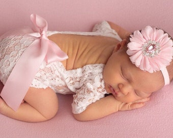 Newborn Lace Romper (unlined) with baby pink ribbon bow, or no bow, AND/OR pink flower headband, photoshoot, bebe, Lil Miss Sweet Pea