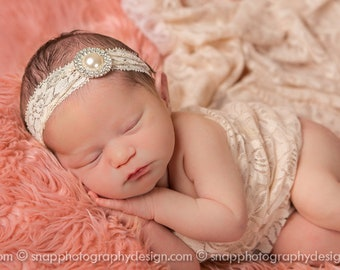 Nude stretch lace swaddle wrap AND / OR lace & rhinestone pearl button headband for newborn photo shoots, lace wrap by Lil Miss Sweet Pea
