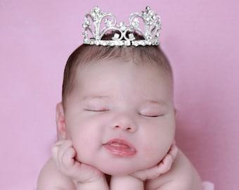 Silver Vintage Baby Crown, newborn, maternity, baby crown, tiara, Austrian Crystals, bebe by Lil Miss Sweet Pea