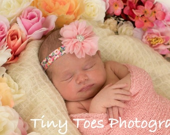 Pink Petal Flower Blossom on a Gorgeous Printed Stretch Elastic Headband, photo prop, newborn headband, photo shoot, by Lil Miss Sweet Pea