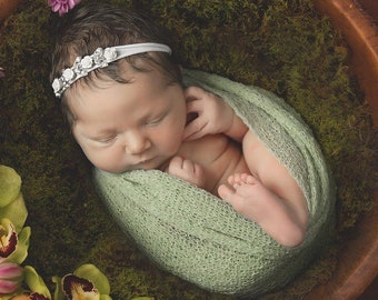 Sage Knit Swaddle Wrap AND/OR White Rose Rhinestone Headband - newborn photo shoots, Baby Shower Gift, by Lil Miss Sweet Pea