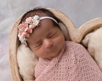 Textured Blush Knit Swaddle Wrap or Layering for Newborn Photos AND/OR Matching Couture Flower Headband bebe bandeau by Lil Miss Sweet Pea