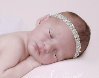 SILVER - RED - or GOLD - Sequin and Beaded Headband for Photo Shoots for newborns to adult. Photoprop, newborn, photographer, baby headband