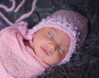 Pink Mohair Newborn Bonnet with Organza Bow Trim & sequin flowers, photo shoots, photographers, bebe foto, Lil Miss Sweet Pea