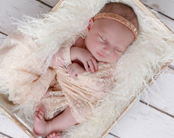Nude blush stretch lace swaddle wrap AND/OR matching beaded headband for newborn photo shoots, stretch lace layering by Lil Miss Sweet Pea