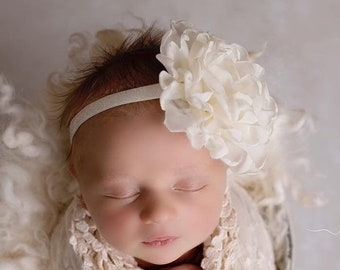 Ivory Chiffon Petal Flower, 4 inches, on 3/8 inch soft stretch elastic, newborn Photography, by Lil Miss Sweet Pea