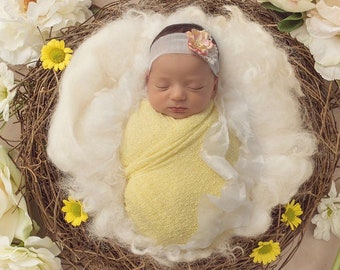 Light Yellow Stretchy Knit Wrap AND/OR Mulberry Paper Flower Headband on silk tieback, photo shoots, swaddle wrap, bebe, Lil Miss Sweet Pea