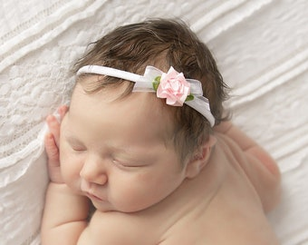 White stretch knit headband with lace, ribbon and a pink satin rose, bebe bandeau, newborn photos, by Lil Miss Sweet Pea
