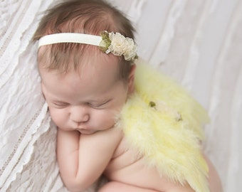 Yellow Feather Angel Baby Wings, Matching Flower Headband, newborns, photo shoots, photographer, baby girls by Lil Miss Sweet Pea Boutique
