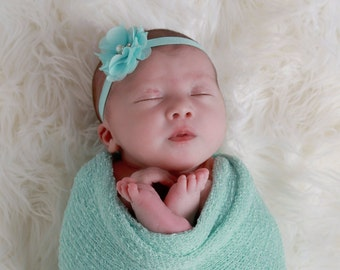 Mint stretch wrap AND/OR matching floral headband for newborn photo shoots, baby swaddle, bebe, foto, hairband, infant, Lil Miss Sweet Pea