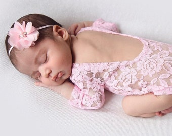Pink Newborn Lace Romper AND/OR Pink Flower Headband, low back, couture romper, photoshoot, bebe foto, Lil Miss Sweet Pea