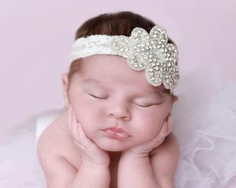 Rhinestone Applique Headband on Stretch Lace, Newborn Photo Prop, baby bling, baby, bebe foto, wedding, bride, by Lil Miss Sweet Pea