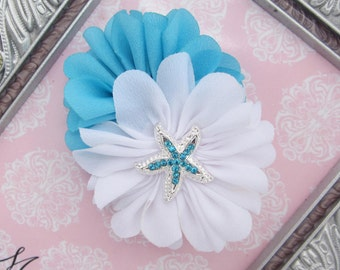 Mermaid Clip or Headband, turquoise and white with a starfish center, choose finish on checkout, by Lil Miss Sweet Pea