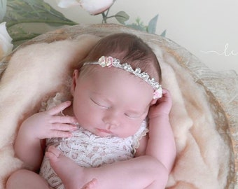 Rhinestones and Roses headband, newborn photographer, baby bling, infant hairband, Lil Miss Sweet Pea