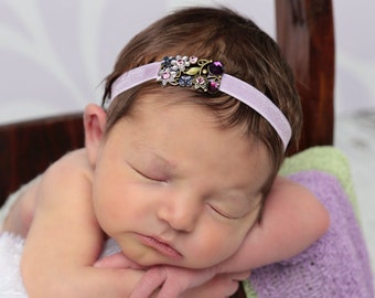 Purple Lilac / Lavender Floral rhinestone headband AND/OR Stretch Knit Wrap -  for newborn photos,  foto bebe, photo,  by Lil Miss Sweet Pea