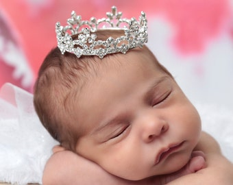 Rhinestone Baby Crown for newborn or maternity, baby crown, tiara, Austrian Crystals, photographer, newborn bebe foto by Lil Miss Sweet Pea